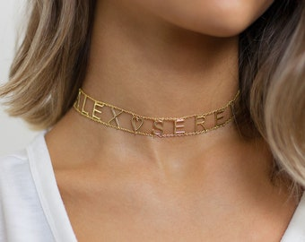 Choker Necklace - Name Choker Necklace - Custom Name Choker - Personalized Choker - Gold Name Necklace  - Name Choker - Mothers Day Gift