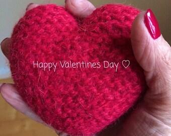 hand knitted heart pin cushion