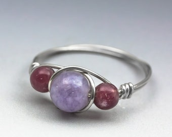 """Lavender Chalcedony """"Angel Stone"""" & Lepidolite Gemstone Sterling Silver Wire Wrapped Bead Ring - Made to Order, Ships Fast!"""