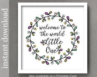 Welcome Baby Printable Nursery Decor, nursery wall art, baby quote, baby room decor, nursery print, pastel baby, colorful nursery
