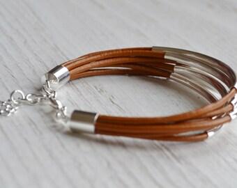 Caramel Leather Cuff Bracelet with Silver Tube Beads - Minamalist Design Multi Strand Bangle Women's Bracelet ... by  B A L O O S