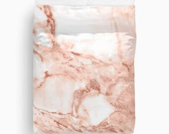 Rose Gold Duvet Cover, Girls Bedding, Teen Room Decor, Dorm Bedding, Girls Bedroom Decor, Tween Girls, Twin Duvet Cover, Queen, King