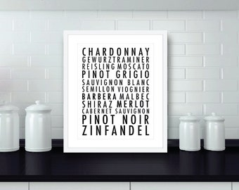 Types Of Wine Art Print - KitchenTypography Poster - Wine Wall Art - Wine Lover