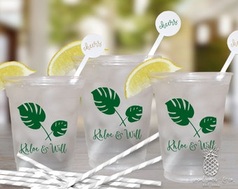 Wedding Cups | Personalized Plastic Cups | Tropical Palm Plastic Party Cups | Personalized Disposable Cups