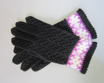 Black Winter Gloves Lace Gloves Fingerless Gloves Womens Gloves Hand Knit Gloves Wool Gloves Knitted Gloves FREE SHIPING