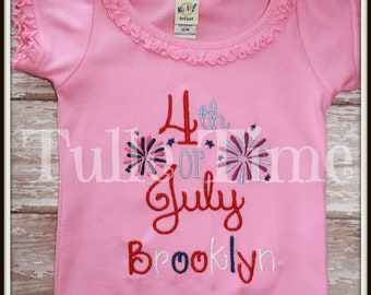 SALE personalized pink 4th of July shirt bodysuit red white blue patriotic