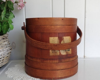 Vintage Wooden Firkin Bucket Sewing Box Primitive Shaker Style Banded Sugar Bucket Pail Wood Handle