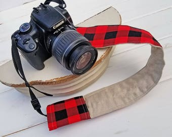 Padded DSLR camera strap cover, reversible padded camera strap cover, slip on strap cover in Hipster Red and Black Buffalo Check Plaid