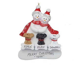 Personalized Snowman Couple Christmas Ornament with 3 Custom Family Dogs or Cats - Custom Pets Added Dogs or Cats