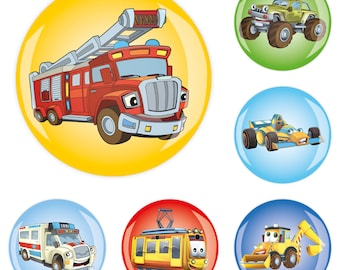 Set of 6 6erMB66620 fridge magnet Magnet Memo Magnetic Wall Nursery School cars 4 cm strong sticky Jay button