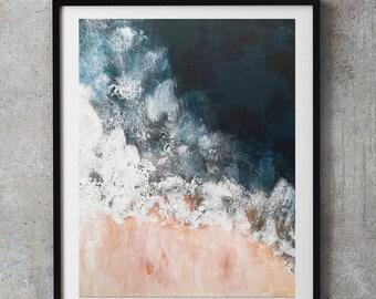Blush pink and navy, Indigo pink nautical Ocean art, Navy Blue Wall Art, Ocean beach, Navy Decor, ocean art, aerial pink beach painting