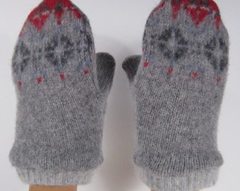 Tots Grey Patterned Wool Lined Mittens (M7)