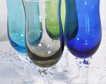 Lovely Cordials Set of 4 Twisted Stem in 4 Different Color Hour Glass Shaped Cups Aperitif