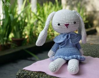 Cornflower blue amigurumi bunny - Handmade crochet rabbit