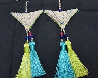 Tribal Jewelry , Tassel Jewelry, Tassel Earrings, Hmong earring