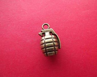 1 small charm grenade 3-d bronze metal