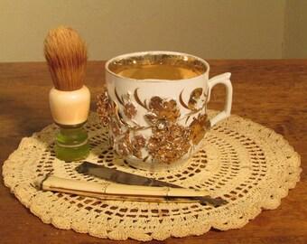 Antique Shaving Mug, White Victorian Shaving Mug with Gilt Applied Floral Design, Porcelain Shaving Cup with Gold Gilt Raised Flowers, 1800s