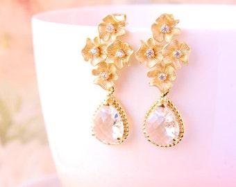 Cubic Zirconia Earrings Clear Crystal Drop Earrings Bridal Earrings Gold Flower Stud Earrings Crystal Wedding Earrings Jewelry For Bride
