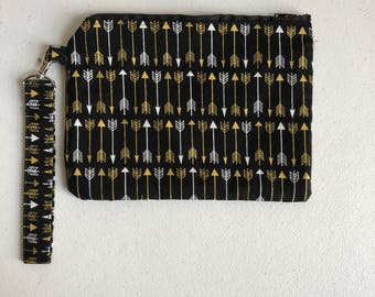 Gold arrows zippered pouch
