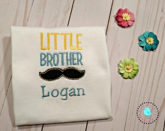 "Boys Tee with Precious ""LittleBrother' Mustache Design"