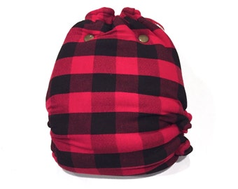 One Size OS Hybrid Fitted Cloth Diaper - Buffalo Plaid Cloth Diaper - Lumberjack - Bucheron - Gift Idea - Christmas - Flannel - Red - Black