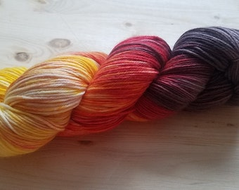 Hand Dyed, Indie Painted Superwash Merino Wool and Nylon Blend Fingering Weight Sock Yarn Yellow Orange Red- BONFIRE