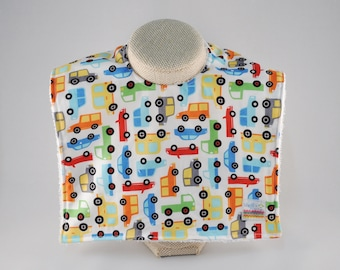 Cars Feeding Bib, Large Bib, Big Bib, Boy Baby Bib, Feathers, Boy Bib, Trucks Baby, Large Toddler Bib, Baby Shower Gift, Reflux Baby, Snap