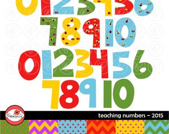 Teaching Numbers 2015 Clipart and Digital Clipart Set: (300 dpi) School Teacher Clip Art Numbers Bugs Kindergarten Pre-K