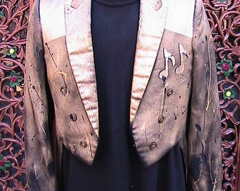 41 R Hand Painted Musician's Tux Jacket with Tails - One of a Kind by Banana Moon Creations