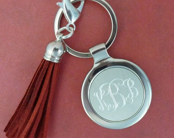 1 Engraved Monogram Keychain with Tassel FC63023T