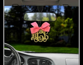 Gold Glitter Rear view mirror charm Rearview mirror Monogram rearview mirror letters Rearview mirror accessories Rearview mirror accessory,