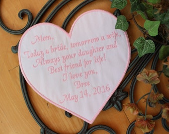 Wedding Quilt Label, quilt patch, Mother of the Bride, custom, embroidered, personalize, heart shaped, quilt square, iron-on option, F23