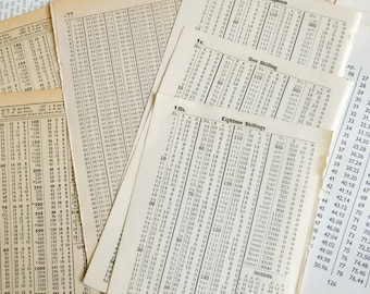 Numbers & Diagrams - mixed vintage book pages with a numerical slant - great for collage and journal backgrounds