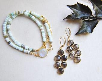 Opal Necklace, Blue Opal Necklace, Moonstone Necklace, Opal Jewelry, Moonstone Jewelry, Birthstone Necklace, Natural Stone, Stone Necklace