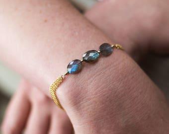 Labradorite 3 Stone Bracelet - Labradorite Gemstone - Labradorite  Bangle- Labradorite Jewelry - Gemstone Bracelet