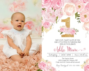Pink Floral First Birthday Pink Watercolor Birthday Invitation, Flowers,Floral, Shower Invitation, Floral Invite, Flower Invite