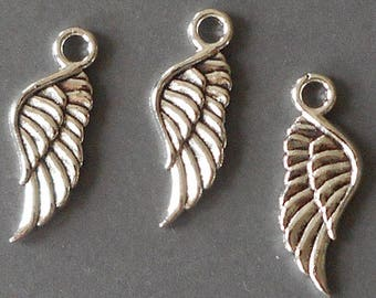 8pcs-2 sidedsilver wing charm-1 loop-Antique silver angel charm