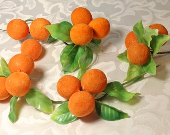 Millinery Picks, craft supply, crafting fruit, Fuzzy oranges