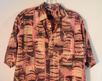 80s Go Barefoot Hawaiian shirt// Aloha beach bum tropical surfer vintage cotton top// Men's size L large