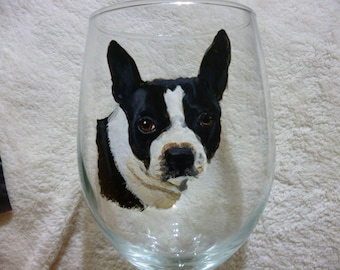 Boston Terrier Wine Glasses Hand Painted and Made to Order by Pigatopia