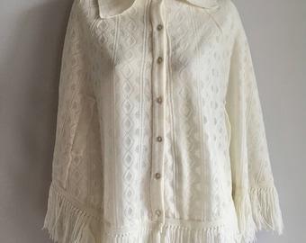 Vintage Women's 70's Boho, White Knit, Poncho (One Size)