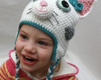 Kitty Cat Hat, Cat Hat, Crochet Baby Hat, Crochet Beanie, Earflap Hat, Handmade Hat, Toddler Hat, Animal Hat, Birthday Gift Hat, Photo Prop