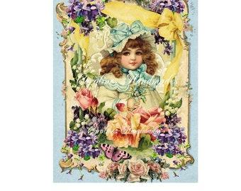 "Victorian Girl Floral Designer Art Collage Cotton Fabric Quilt Block (1) @ 5X7"" on 8.5X11"" Sheet"