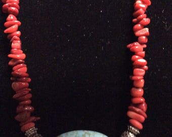 Vintage Red Jasper and Blue Turquoise Necklace