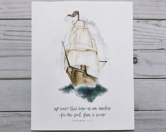 Nursery Art | HandLettered Print | Bible Verse Decor | Ship | Boy Room | Steadfast Anchor | Christian Wall Art