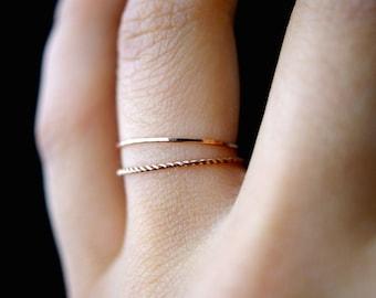 14K Rose Gold fill Twist stacking rings, rose gold stack ring, stacking ring, twist ring, rose gold ring, rope ring, set of 2