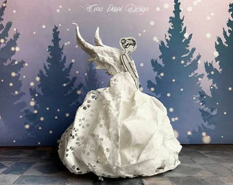 Christmas Angel Tree Topper -  Gift Boxed Fairy Decoration -  Paper Sculpture - Art Doll - 3D Paper Fairy - Christmas Angel Decor