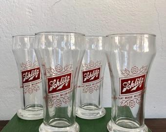 Set of 4 Vintage Schlitz Beer Made In Milwaukee Glasses