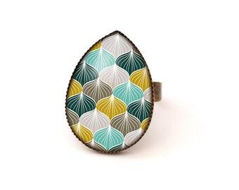 Cabochon ring • Art Deco pattern • blue grey green brass drop glass