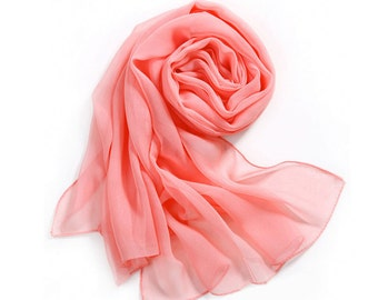 Light Coral Red Chiffon Scarf - Light Watermelon Red Chiffon Scarf - 30D57